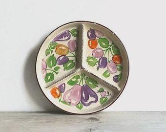 Vintage Ceramic Divided Relish Dish Japan Plums Colrful