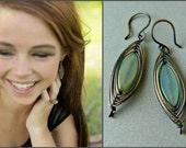 Czech Glass Herringbone Dangle Earrings Classic Style Wire Wrapped Jewelry Boho Jewelry Everyday Earrings Wire Wrapped Earrings Wirework