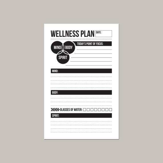 mind body spirit daily wellness worksheet – Wellness Worksheet