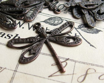 Art Nouveau dragonfly charm, 25mm, black antiqued brass (2 charms) black dragonfly pendant, flat dragonfly