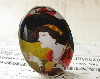 Art Nouveau Woman with Black Hat, handmade 40x30 40x30mm 30x40mm 40 30 mm glass oval cabochon, orange, yellow, vintage fashion