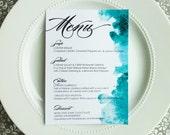 Printable Watercolor Menu - Style M3 - WATERCOLOR COLLECTION   dinner menu   table menu   reception menu   wedding menu
