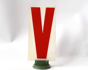 "vintage 1970's industrial marquee sign letter V type acrylic plastic red on white aged 6.5"" tall decorative home decor church typography old"