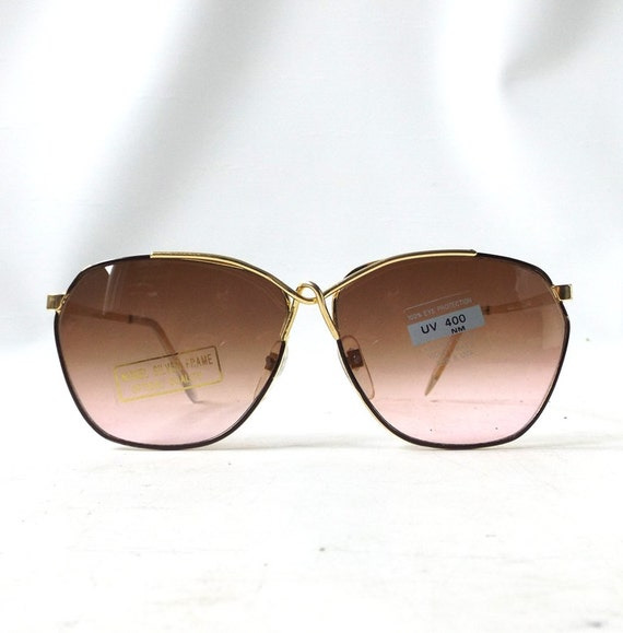 Thin Gold Frame Sunglasses : vintage 1980s round sunglasses oversized by RecycleBuyVintage
