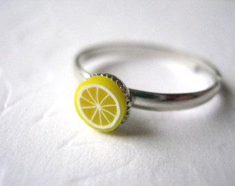 Lemon Yellow Stacking Ring Lemon Ring Fruit Ring Thin Silver Polymer Clay Yellow Knuckle Ring Stacklable Rings Gift Under 10 Lemon Drop