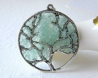 Aqua Tree Necklace, Aquamarine Pendant, Large Tree Necklace, Aquamarine Jewelry, March Birthstone Stained Glass Jewelry