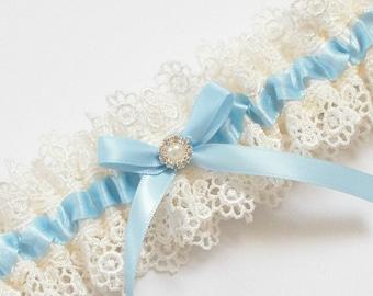 Light Blue Wedding Garter, Something Blue Wedding Garter  - The ALLIE Garter