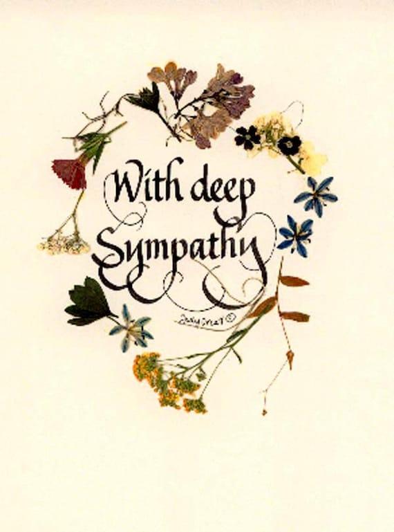 beautiful sympathy note card with deep sympathy
