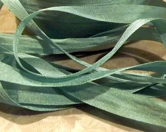 Silk Teal Silk Ribbon 1/4 inch 2 yards Blue Green 100% silk