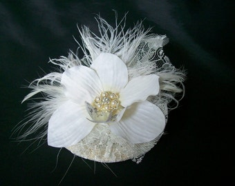 Ivory Lace Feather and Orchid Flower Diamanté Stud Dainty Vintage Style Mini Bridal Fascinator - Made to Order