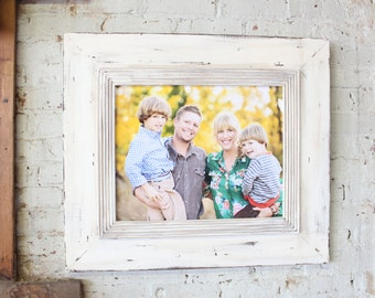 16x20 White Wood Uber Distressed Whitewash Portrait Art or Canvas Frame