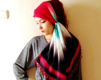 Black Tie Dye Batik chiffon women scarf, Thin fabric spring scarf, Rectangle fabric scarf crochet edges