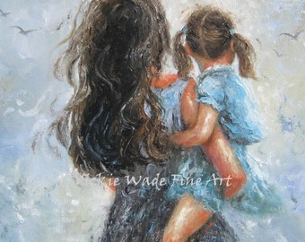 Mother Daughter Art Print , mother paintings, mom, little brunette girl, mother's day gift, girls room, blue gray wall decor, Vickie Wade
