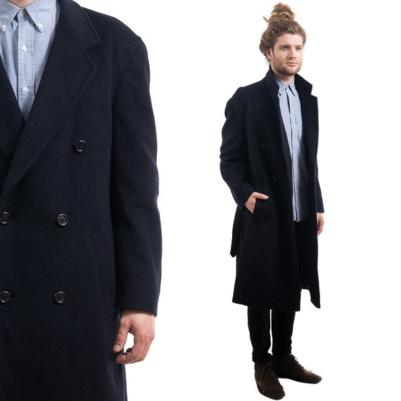 Mens WINTER Coat . OVERCOAT Vintage 80s NAVY Blue Wool Trapeze
