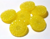 19mm Beautiful Yellow Glass Vintage Buttons Molded Clear Glass Moonglow Style 4 way metal box shank