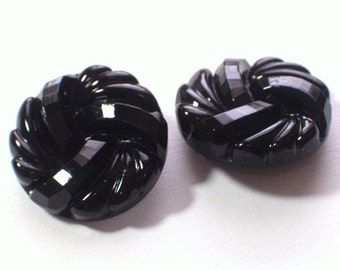 Beautiful Vintage Black Glass Buttons Elegant 26mm Set 2 Spectacular Buttons