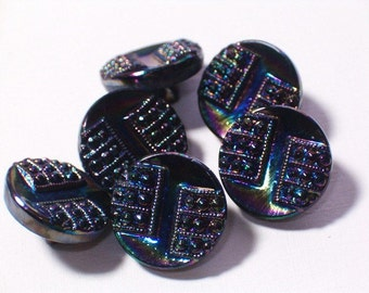 Vintage Black Glass Buttons 12mm AB Lustre Pretty Little Set 6 Buttons with shanks