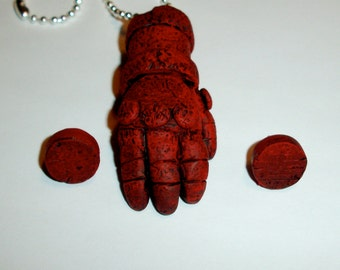 Hellboy Right Hand of Doom Inspired Necklace with Horn Studs Set