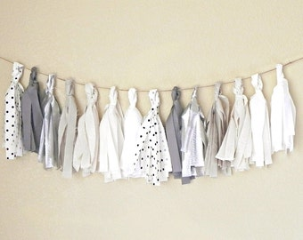 Tassel Garland / Wedding Decor / Wedding Decorations / Tassel Wedding Garland / Silver Wedding Decor / Bunting Garland / Gray Wedding
