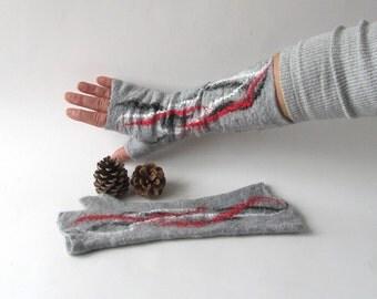 Fingerless gloves Hand Felted Mittens, Felt  fingerless gloves, womans gift Grey  White Red Cozy winter Gloves, wool arm warmer