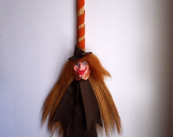 Vintage Halloween Witches Broom Decoration Wall Hanging Figurine Rubber Face