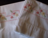 Pink flowered border pillow cases