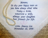 Mother of the BRIDE Wedding Lace Handkerchief Gift White OR Ivory Hanky Embroidered Hankerchief