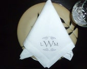 Dinner Napkin Embroidered Personalized Linen Dinner Napkin Dinner Party Napkin Monogram Linen Napkins