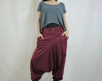 Men Women Funky Ninja Harem Burgundy Stretch Cotton Drop Crotch Pants With 6 Pockets