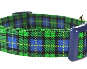 Blue and Green Plaid Dog Collar