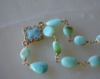 Peruvian Blue Opal and Sleeping Beauty Turquoise gold filled necklace October Birthstone