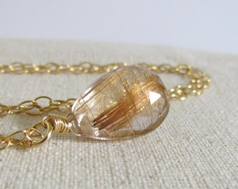 Gold Needle Gemstone, Rutilated Quartz Necklace, Meteor Shower, Golden Rutile Stone, 14Kt Gold FIlled, Tourmalated Quartz Pendant