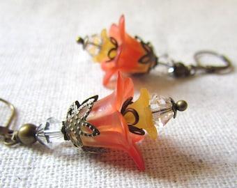 Mimosa Flower Earrings, Orange Sunrise Flower Earrings, Romantic Floral Earrings, Botanical Jewelry, Antiqued Brass, Vintage Style Earrings