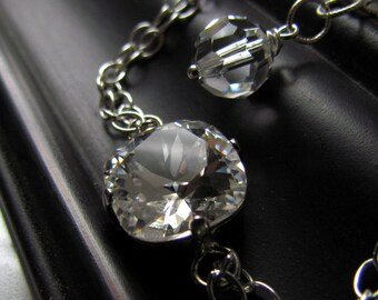 Swarovski Crystal Solitaire Bracelet, Sterling Silver, Bridesmaid Jewelry, Sparkling Crystal Bracelet, Minimalist Wedding Jewelry