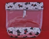 Little Black Scotty Dogs Vinyl Sided Snap Bag - Cosmetic