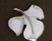 Trifari Vintage White Enamel Leaf Pin Brooch w/ Gold tone accents