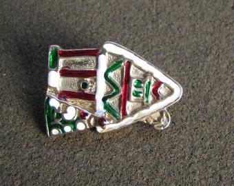 Vintage enamel holiday gingerbread house brooch pin Christmas