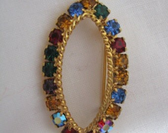 Vintage gold tone brooch pin with multi-color rhinestones