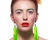 Giant Squid Tassel Earrings - neon/green