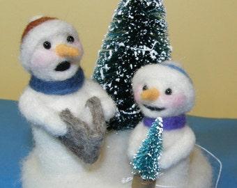 Caroling Snowmen with Bottle Brush Tree in Needle Felted Wool