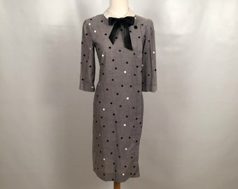 Vintage Gray Dress with Black and White Polka Dots