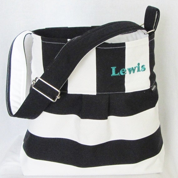Personalized hobo bag, black and white canvas, large purse, laptop, diaper, nappy, messenger bag, Marimekko style, bridesmaid gift, 5 colors