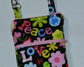 Ready to Ship Peace and Love Butterflies Floral Black Pink Blue Green iPhone 4 5 6 Phone Case Wristlet Alternate Fabric Option