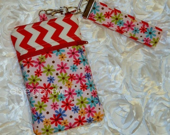 Sale Save 10.00 Ready to Ship Red White Chevron Pink Aqua Green and Blue Flowers Phone Case Wristlet  iPhone Plus 4 5 6 Samsung