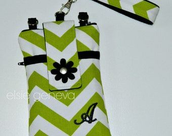 Personalized Lime Green Chevron and Black Flower Phone Case with Optional Wristlet or Shoulder Strap Back Zipper Pocket Minky Lining