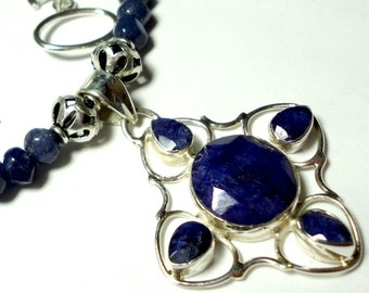 Sapphire Pendant and Necklace in Sterling with Sapphire Beads and Solid Sterling Silver
