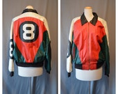 90s 8 BALL JACKET Leather Jacket  Colour Block Bomber Jacket