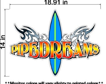 Pipedreams Surf Sticker Removable and Repositionable Surfing Decal