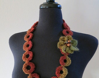 Sienna Amber Brown Khaki Olive Color Statement Crochet Rings Fiber Collar Necklace with Crocheted Flower