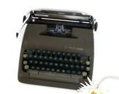 Vintage 1950's Smith Corona Sterling Typewriter Old Portable Typewriter w/ Black Carrying Case Creamy Brown Typewriter Two-Tone Green Keys